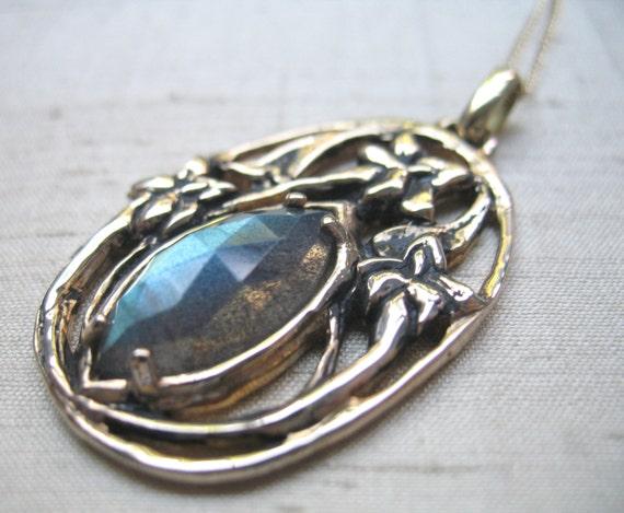 Labradorite and Bronze- Stargazer Lily Pendant