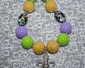 Mardi Gras Princess chunky bead necklace- Purple, Green, Yellow, & Black Beads; Mardi Gras chunky gumball necklace; Lavender chunky necklace