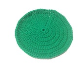 Emerald Green Crocheted Round Dish Cloth