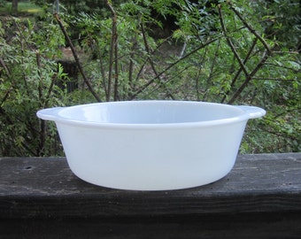 Vintage Fire King Casserole - Milk White Oval
