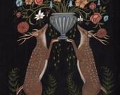 Deer Bouquet - Print