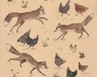 Hens and Foxes - Print