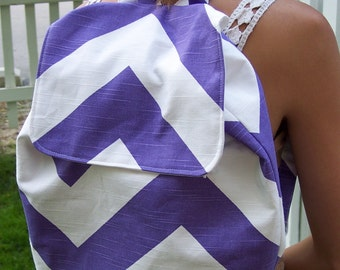 My Carrie Full Size Purple and White Slub Chevron Backpack for Tween Teen Adult