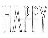 HAPPY cling mounted rubber stamp