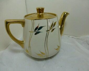 Gold and White  Leaf Sudlow's Burslem Teapot