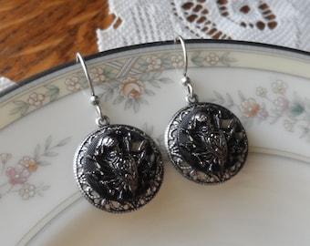 Knight in Shining Armor, Vintage La Mode Glass Button Earrings