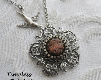 Star Fire, Antique Mother of Pearl Button Necklace