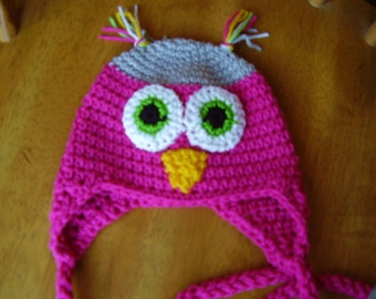 6 to 12 month Crochet Thats Pink and Grey Owl Earflap Hat for Girls