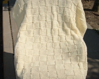 Super Sale Cream Checkerboard Basket~ 35 inch x 45 inch ~ Knitted Baby / Lap Blanket - FREE SHIPING