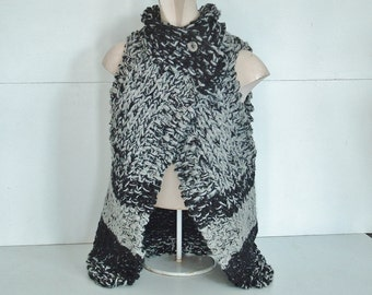 Chunky knit wrap vest sweater for extra small, small medium women in black and grey  Clearance Sale (listed price is 40% off original price)