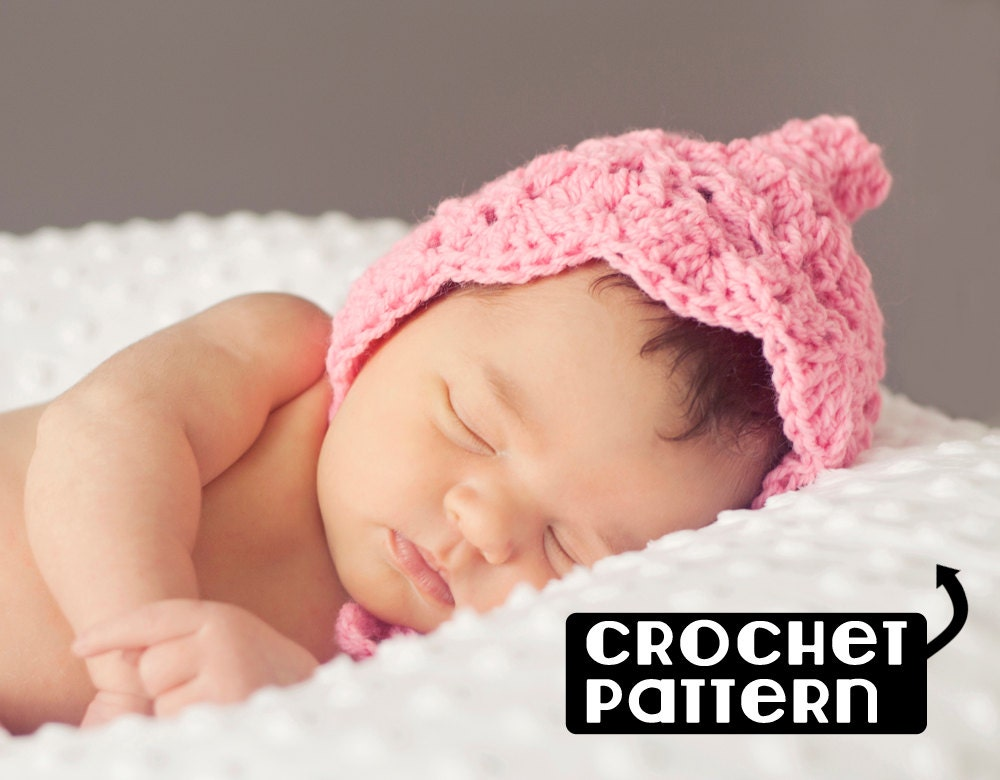 Pdf pixie hat crochet pattern newborn to 3 months hat baby this is a digital file dt1010fo