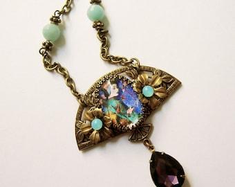 Geisha Necklace - Art Nouveau - Art Deco - Urban Gypsy - Boho Pendant - Purple  Aqua - Gift for girlfriend - Floral Necklace- Estate style