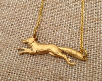Fox Brass Charm Necklace
