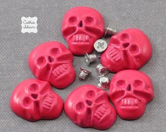 Skull Nail Studs Heads - Neon Pink - 6 pcs -  Screw Back - fashion halloween