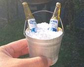 Painted Miniature Bucket of Beer Wedding Cake topper, beach, lake weddings,cottage larger size