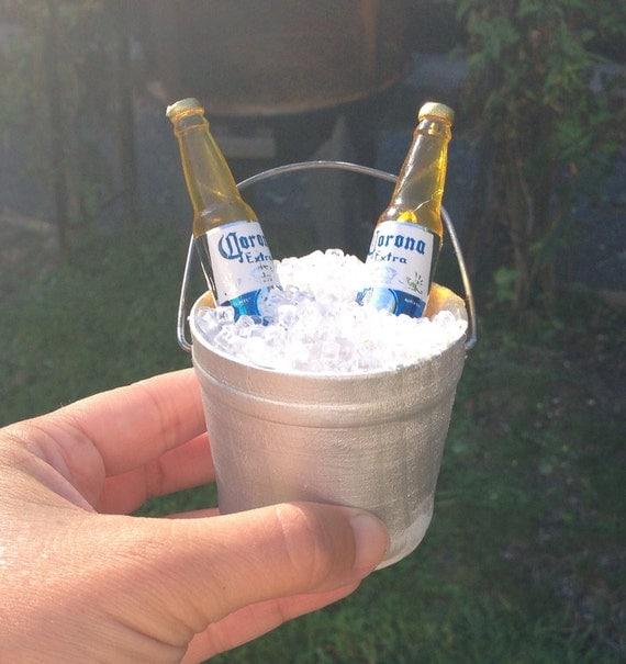 Painted Miniature Bucket Of Beer Wedding Cake Topper Beach