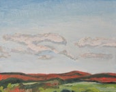 "Art Original Plein Air Fall Landscape Oil Painting Impressionist Minimalist Sky Eastern Townships Quebec Canada Fournier ""The Red Mountains"""