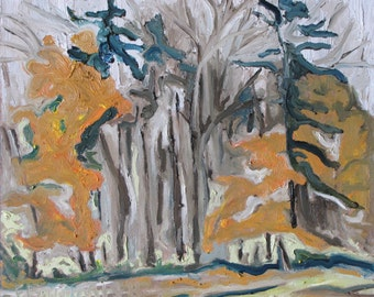 "Original Landscape Plein Air Oil Painting Impressionist Abstract Fall Eastern Townships Quebec Canada Fournier ""The Orange And Brown Trees"