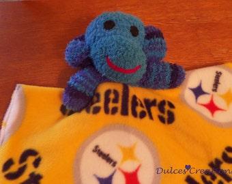 Baby minkey security blanket Lovey sock monkey steelers ready to ship