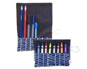 CLEARANCE Convertible Crayon/Pencil Roll | Herringbone Lake
