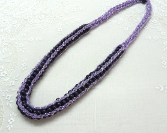 knitted jewelry, Spool knitted necklace purple necklace purple wood beads necklace   by artefyk