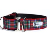 Wide 1 1/2 inch Adjustable Buckle or Martingale Dog Collar in Royal Stewart Tartan