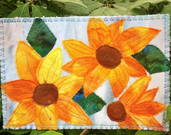 Sunflowers Quilted Fabric Postcard