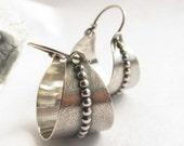 Sterling Silver Basket Earring, Argentium Earrings, Metalwork Silver Hoop Earrings, Silversmith Jewelry, Basket Hoops, Contemporary Earrings
