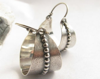 Sterling Silver Basket Earring, Argentium Earrings, Metalwork Silver Hoop Earrings, Silversmith Jewelry, Basket Hoops, Contemporary Earrings