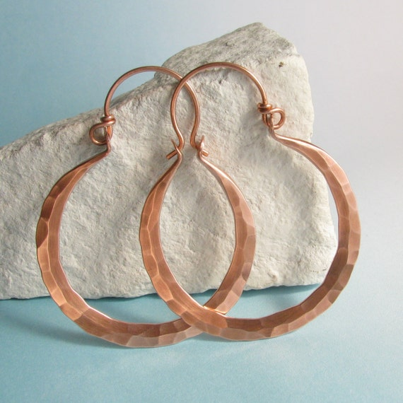 Large Rustic Copper Earrings, Forged Copper Hoop Earrings, Rio Earrings, Hammered Metalsmith Copper Jewelry, Big Hoops