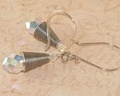 Swarovski Crystal Earrings, Sterling Silver, Bali, Crystal AB, Handmade Jewelry