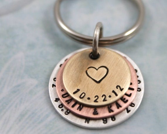 Custom Hand Stamped Keychain, Father's Day Gift or Anniversary Gift, Mens Personalized Keychain, Latitude & Longitude, Womens Gift