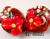 Fall Flowers Handmade Lampwork Glass Bead Set SRA
