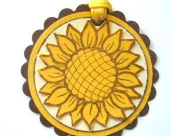 Sunflower Gift Tags Set of Three Brown Beige and Yellow