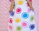 "18"" Doll Zippered Sleeping Bag -- White Dots"