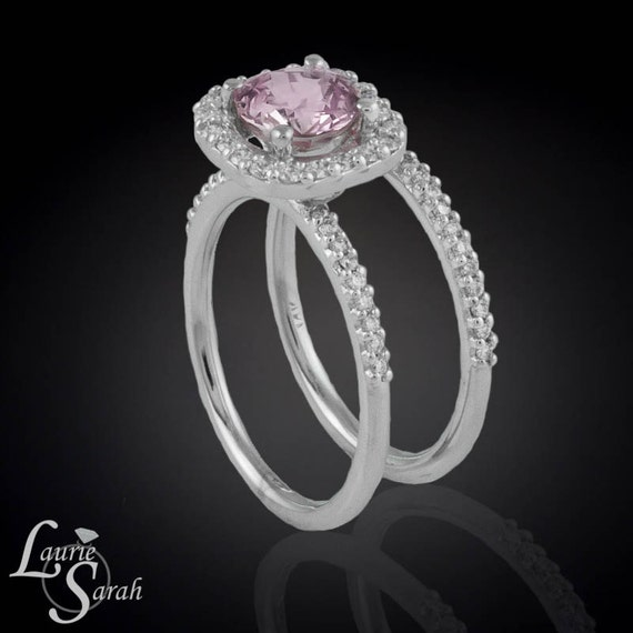Pink Sapphire and Cushion Cut Diamond Halo Engagement Ring with Matching Diamond Half Eternity Wedding Band - LS1941