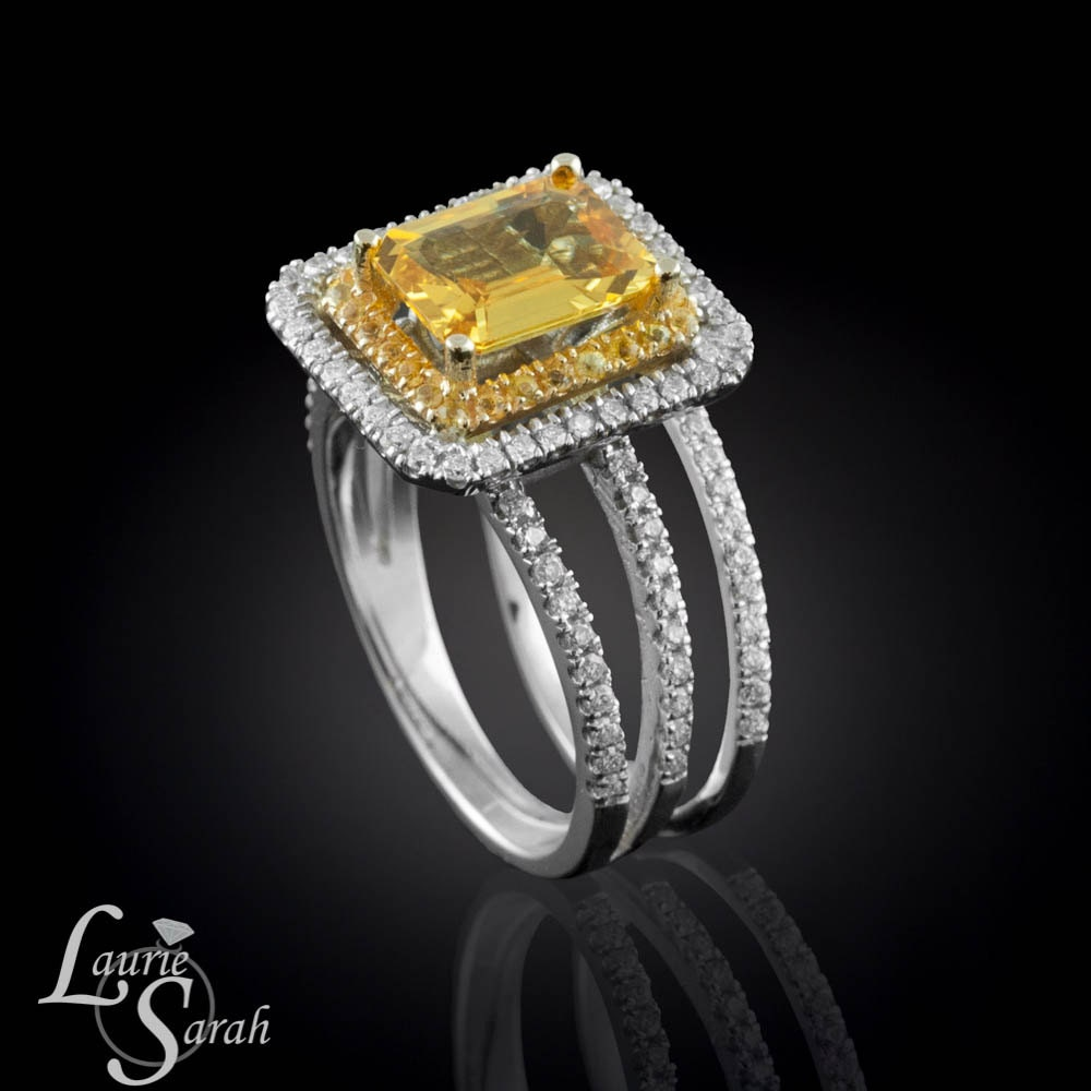 emerald cut yellow sapphire engagement ring by