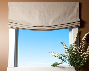 Relaxed Style Custom Roman Shade, Organic, Hemp, Linen, Window, Roman Blind