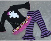 Custom Boutique Black Purple  Stripes Ghost Halloween Tulle Tee and Pant Outfit Or Costume