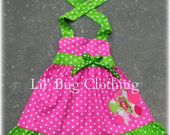 Custom Boutique Clothing Strawberry Shortcake 1 Piece Jumper Dress Pink Lime