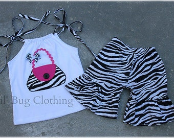 Custom Boutique Clothing Zebra and Pink  Purse Bag  Birthday Short And Halter Top
