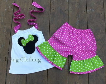Custom Boutique Clothing Pink And Lime Polka Dot  Minnie Short and Halter Top