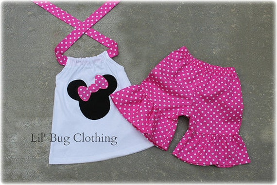 Custom Pink Boutique Minnie Mouse Short set 12 18 24 2 3 4 5 6