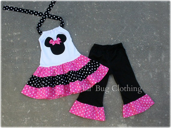 Custom Minnie Mouse Pink and Black  White Polka Dot  Tiered Halter Dress and Leggings