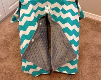 Made-to-order Minky-lined Carseat Canopy in your choice of color, print, and fabric!
