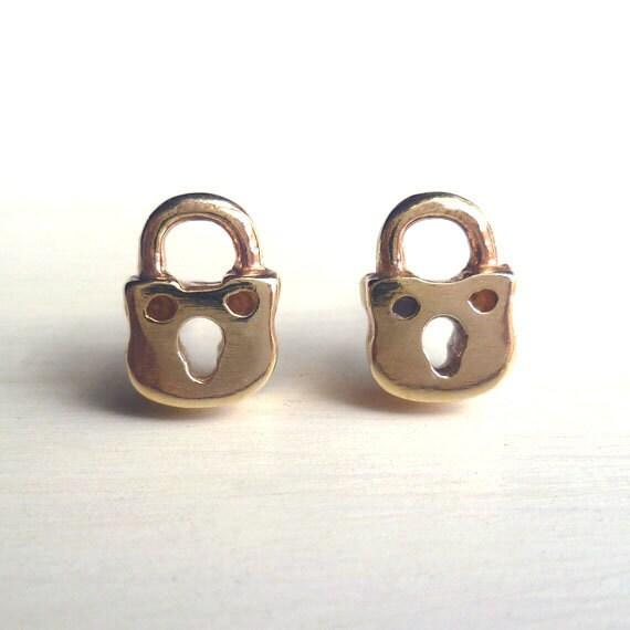 padlock earrings tiny brass handmade studs