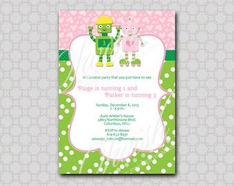 Twin Robot Birthday Invitation digital invite
