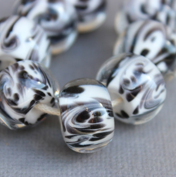 Borosilicate Glass Beads - Boro Beads - Black and White
