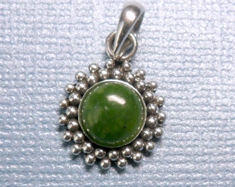 Round Beaded Halo Jade Sterling Silver Pendant