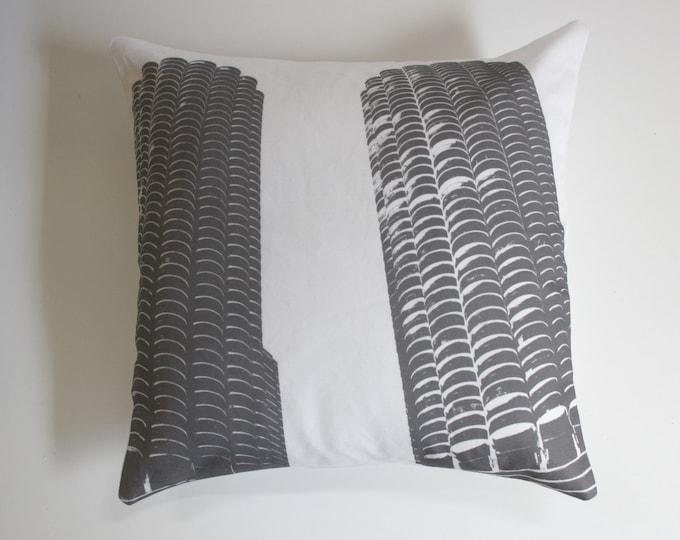 SALE - Chicago Pillow - Urban Throw Style no6 - 16 x 16 - Marina City - Grey and White